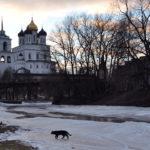 Троицкий собор, вид с реки Псковы