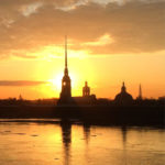 Петропавловская крепость на фоне заката